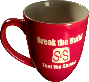 Red 16 oz coffee mug enscribed with: Break the Build Feel The Shame